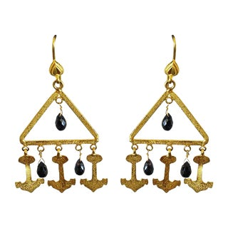 Indian 18k Gold and Sapphire Earrings - a Pair For Sale