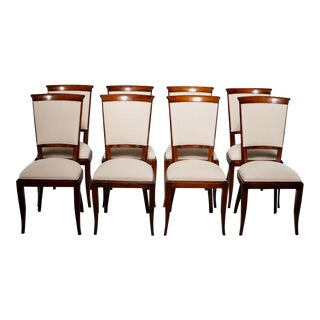 Set of Eight Italian Mid Century Beech Chairs With New Upholstery For Sale