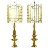 Image of Pair of Brass Art Deco, Stacked Discs Table Lamps With Capiz Shell Shades For Sale