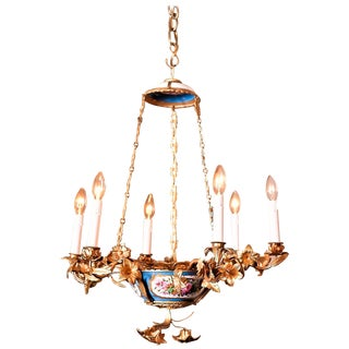 Rococo Style Gilt Bronze and Porcelain Six Light Chandelier, Europe, circa 1890 For Sale