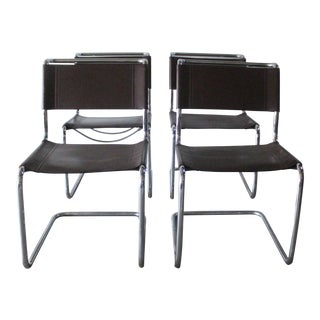 Stendig Leather and Chrome Dining Chairs - Set of 4 For Sale