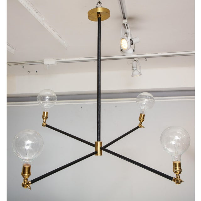 Sculptural Custom Leather and Brass Four-Arm Fixture With Articulating Arms For Sale - Image 13 of 13