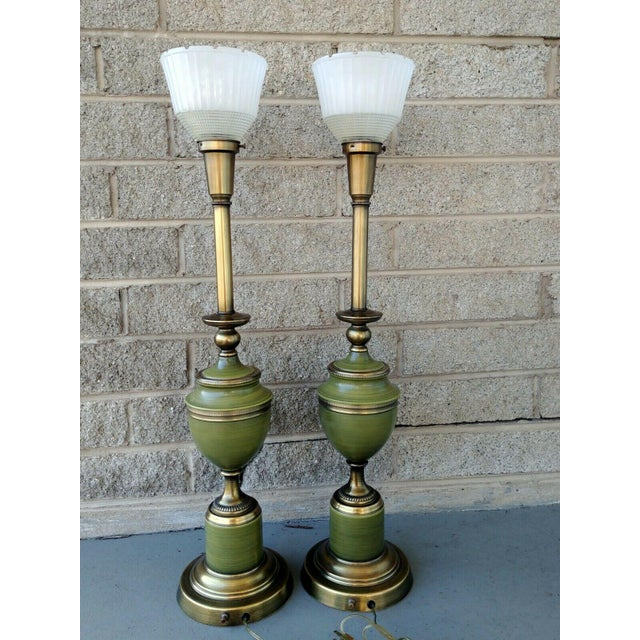 Vintage Rembrandt Brass & Green Enamel Hollywood Regency Table Lamps With Diffuser - a Pair For Sale - Image 13 of 13