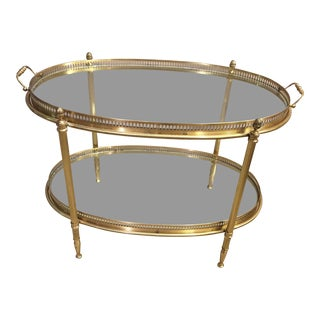 Mid-Century Italian Brass Oval Bar Cart