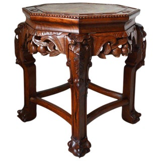 Asian Antique Low Side Table/Gueridon in Carved Wood For Sale