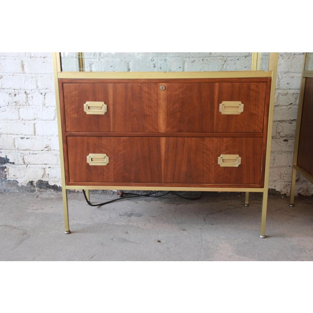 Campaign Baker Furniture Hollywood Regency Campaign Style Lighted Display Cabinets - a Pair For Sale - Image 3 of 13