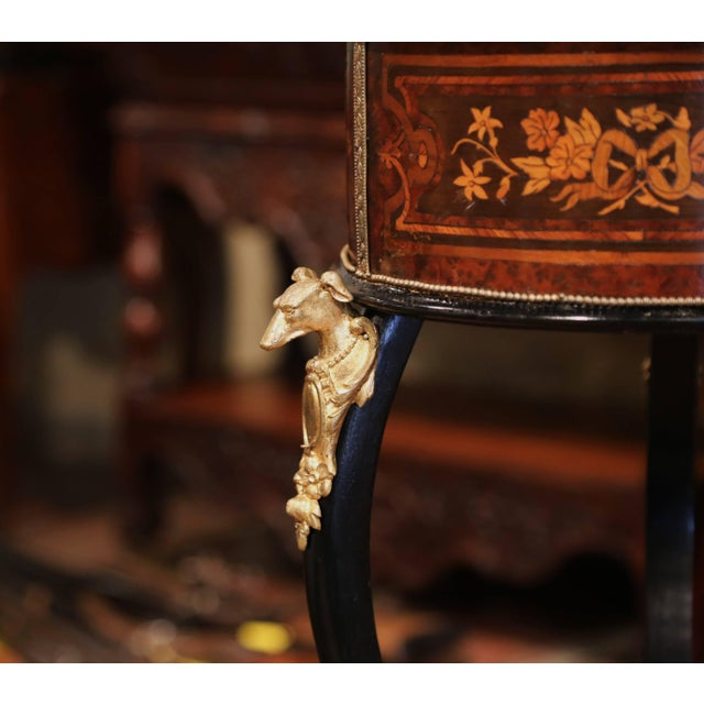 19th Century, French Napoleon III Inlay Rosewood Plant Stand With Brass Mounts For Sale In Dallas - Image 6 of 9