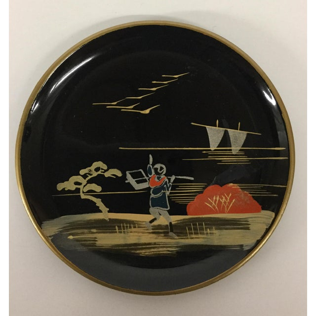 Vintage Mid-Century Modern Lacquer Coaster Set - Set of 5 For Sale - Image 5 of 11