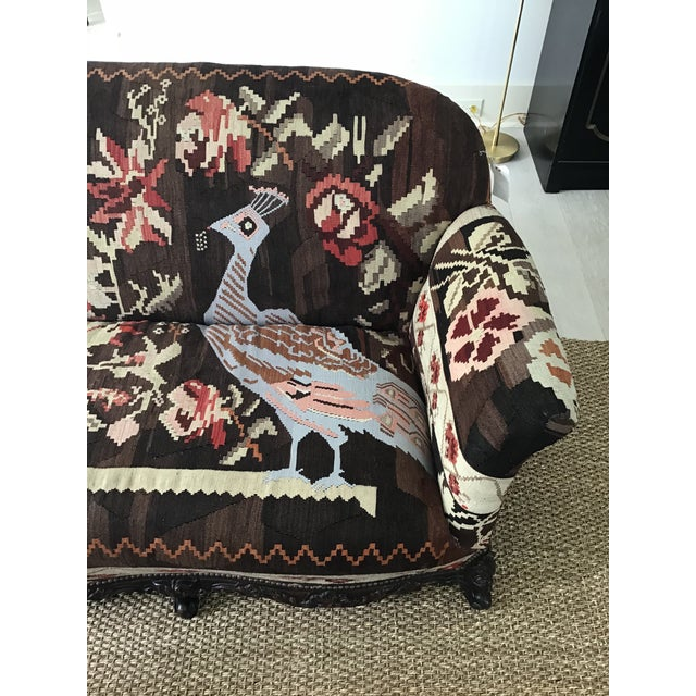 Boho Chic Antique French Serpentine Sofa Upholstered in Antique Karabagh Peacock Kilms For Sale - Image 3 of 13