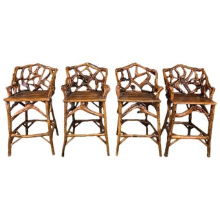 Vintage Mid Century Spectacular Bar Wood Stools-Set of 4 For Sale