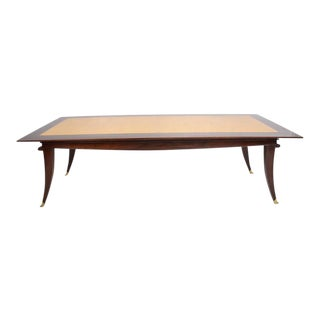 Mexican Modernist Mahogany Goatskin Dining Table For Sale