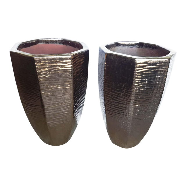 Architectural Indoor Outdoor Oversize Planters - A Pair - Image 1 of 7