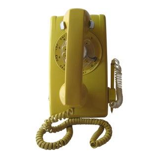 Mid-Century Yellow Rotor Dial Wall Telephone