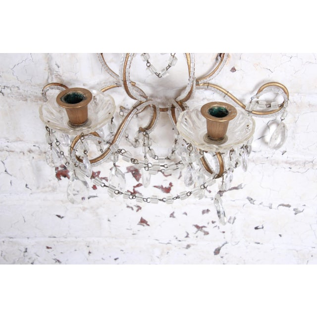 Pair of Antique Italian Baroque Wall Sconces in Crystal, Brass, and Gilt Metal For Sale - Image 9 of 13
