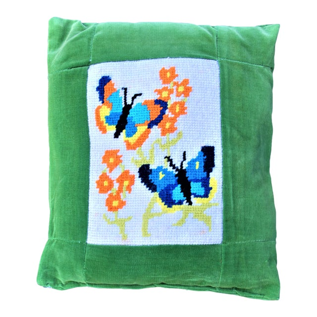 Vintage 1970's Butterfly Needlepoint Pillow - Image 1 of 6