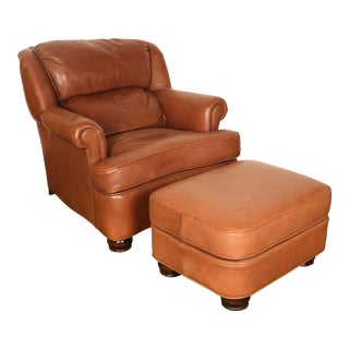 Hancock & Moore Leather Chair and Ottoman Set