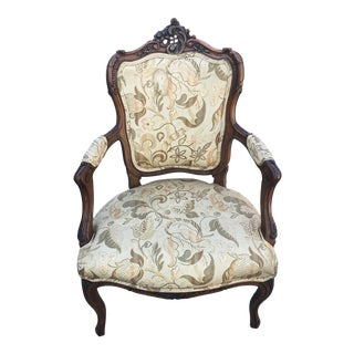 Antique French Fauteuil with Carved Cartouche For Sale