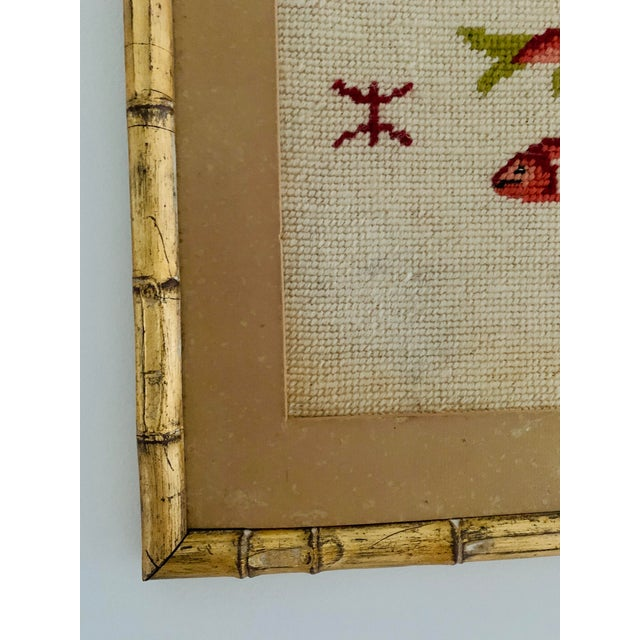 1950s Vintage Pisces Astrology Needlepoint With Gold Faux Bamboo Frame For Sale - Image 5 of 7