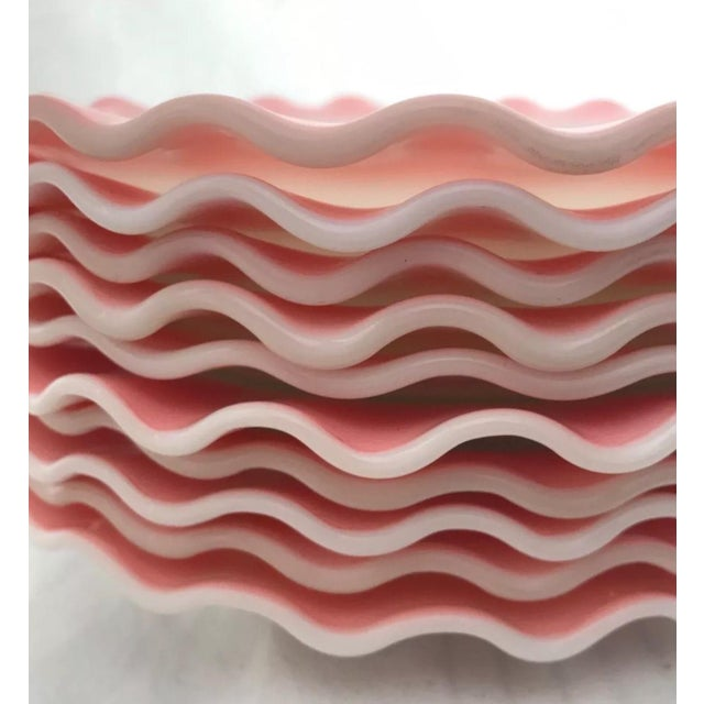 Hazel-Atlas Hazel Atlas Glass Ripple Crinoline Pink Plates - Set of 10 For Sale - Image 4 of 4