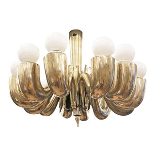Mid-Century Cast Brass Chandelier Attributed to Guglielmo Ulrich For Sale