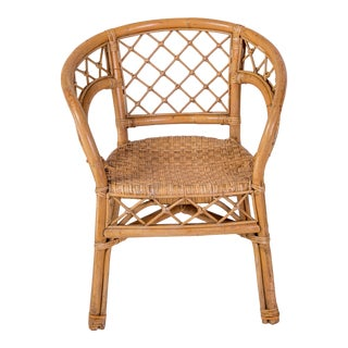 1950s Vintage Madcap Cottage Rattan Chair For Sale