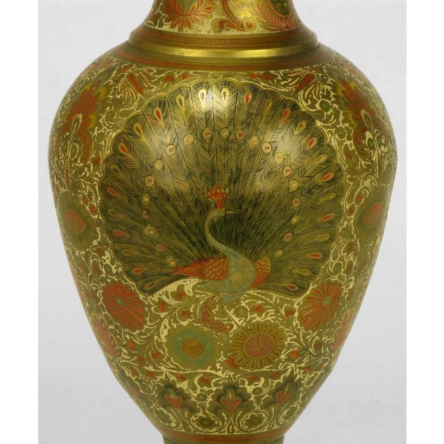 Lacquer Incised Brass & Hand Painted Peacock Vase Form Table Lamp For Sale - Image 7 of 8