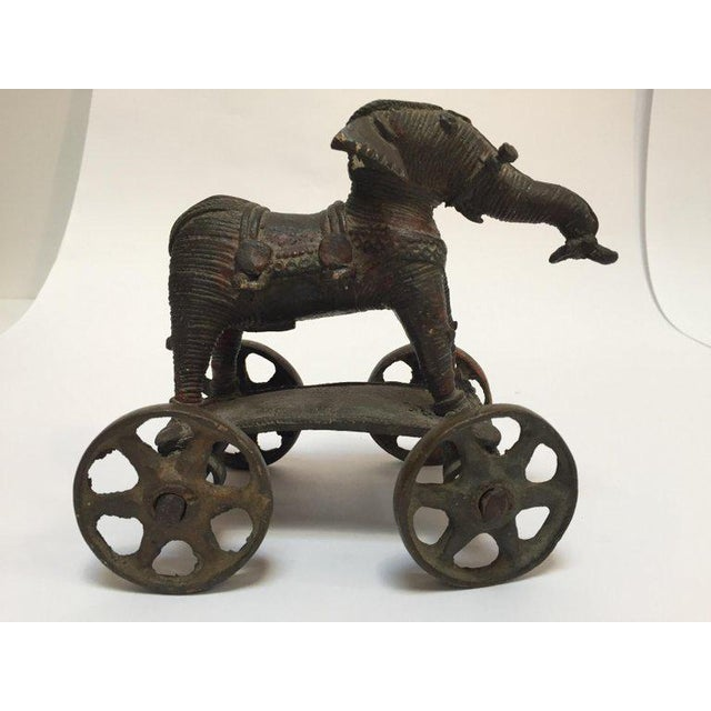 Antique Cast Bronze Temple Toy Elephant on Wheels India For Sale - Image 4 of 13