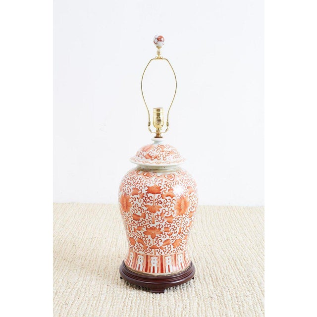 Pair of Chinese Porcelain Floral Ginger Jar Lamps For Sale - Image 9 of 13