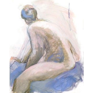 Contemporary Soft Impressionist Nude on Blue Cloth Painting For Sale