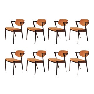 Mid Century Modern Danish Kai Kristiansen Dining Chairs- Set of 8 For Sale