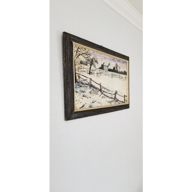 Offered for sale is a stunning Vintage Oil Painting depicts , Snow Landscape / Winter landscape scene . Oil painting on...