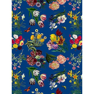Nicolette Mayer for Scalamandre Flora & Fauna Blue Wallpaper For Sale