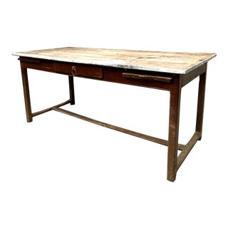 Antique French Rustic Plank Top Farm Worktable With H Stretcher For Sale