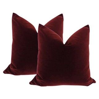 "22"" Velvet Pillows in Oxblood - A Pair"