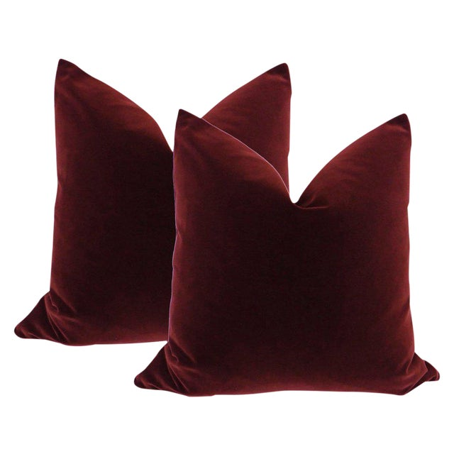 "22"" Velvet Pillows in Oxblood - A Pair - Image 1 of 3"