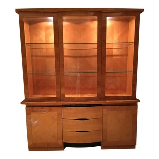 1990s Vintage Excelsior Italian Cherry Wood and Glass China Cabinet - 2 Pieces