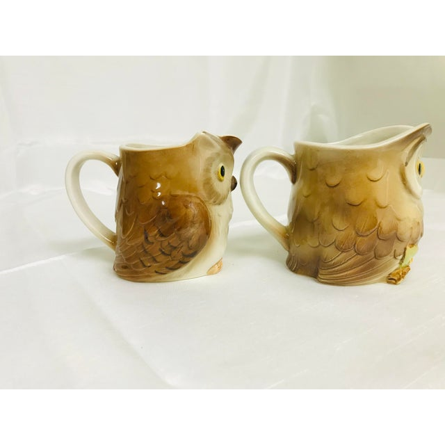 Otagiri Company 1980s Vintage Otagiri Small Owl Syrup Creamer Pitchers - a Pair For Sale - Image 4 of 7
