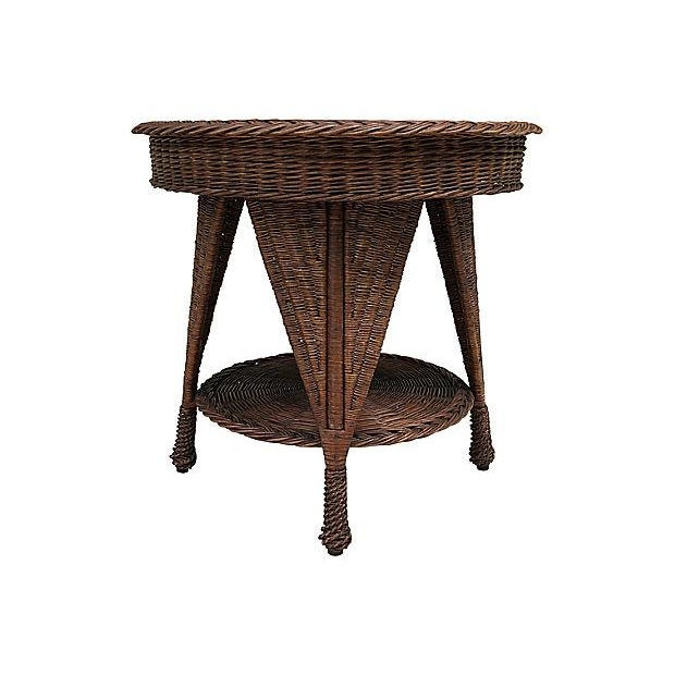 Antique Wicker Heywood Wakefield Table For Sale In Boston - Image 6 of 10