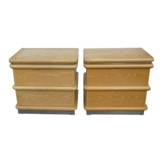 Jay Spectre for Century Furniture Limed Oak Nightstands - a Pair