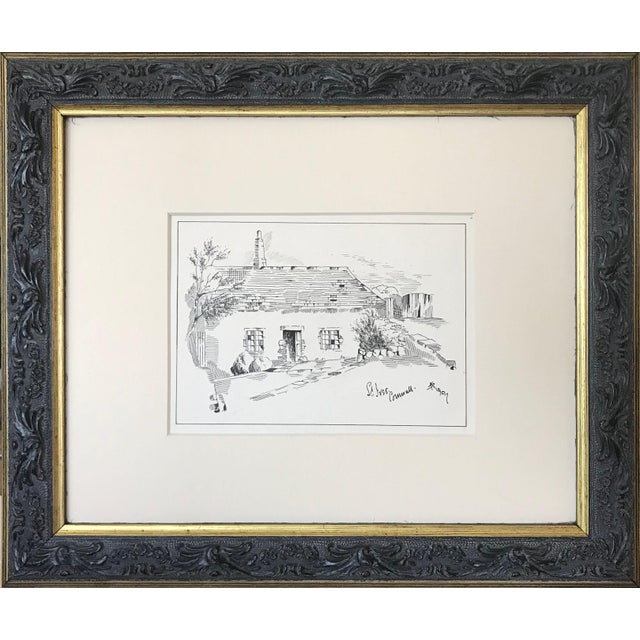 "Antique English Pen & Ink Cottage Drawing ""St Ives Cornwall"" 1907 For Sale In New York - Image 6 of 6"
