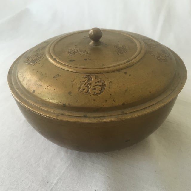 Vintage Brass Lidded Bowl For Sale - Image 4 of 6