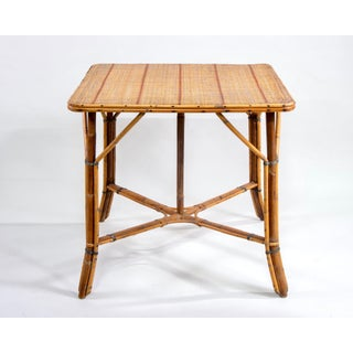 French Mid Century Bamboo Wicker Rattan Game Table Preview