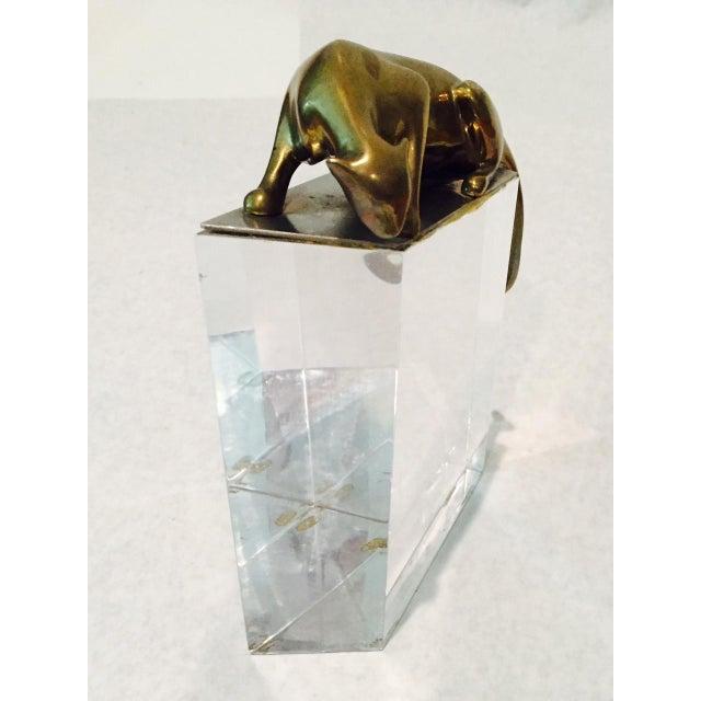 Vintage Lucite & Brass Leopard Modern Art Piece - Image 10 of 11