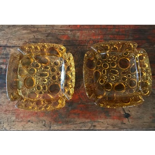 Vintage Amber Glass Ashtrays - a Pair Preview