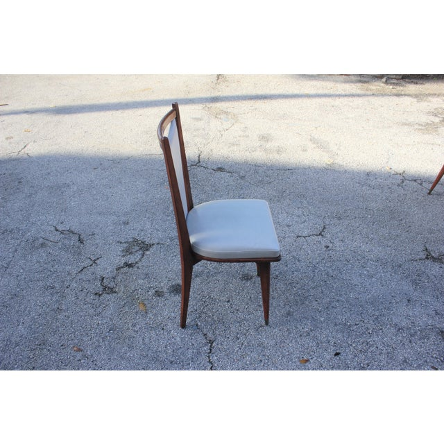 Set of 6 French Art Deco or Art Modern Solid Mahogany Dining Chairs Circa 1950s For Sale - Image 11 of 13