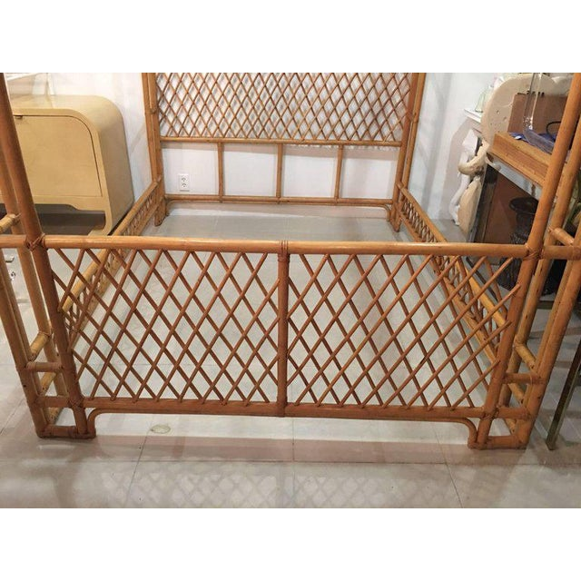 Rattan Bamboo Chinese Chippendale Queen Canopy Bed - Image 6 of 11