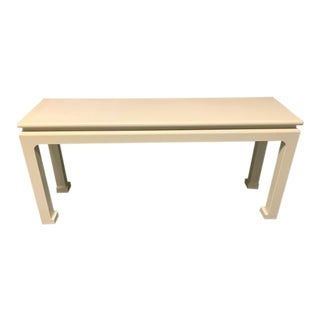 Karl Springer Ming Leg Grasscloth Wrapped Console For Sale