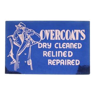 Vintage Overcoats Sign For Sale