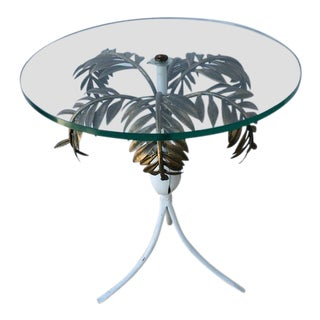 1960s Hollywood Regency Palm Tree Side Table For Sale