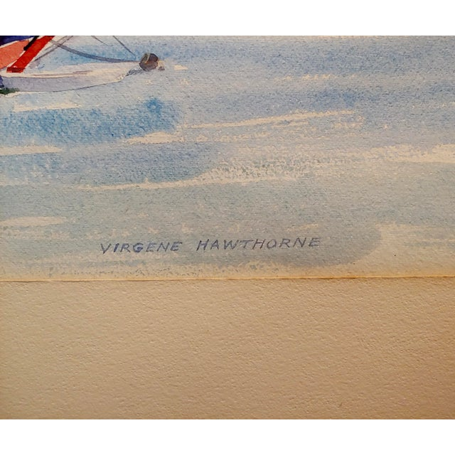 Watercolor Virgene Hawthorne - Red Sail Boat Resting at Bay - 1950s Painting For Sale - Image 7 of 9